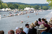 Henley on Thames, England, United Kingdom, Sunday, 07.07.19, O. Zeidler Germany leads G.G. Krommenhoek Netherlands, as they pass the Enclosures, in the Final of the Diamond Challenge Sculls, Henley Royal Regatta,  Henley Reach, [©Karon PHILLIPS/Intersport Images]<br /> <br /> 15:26:55 1919 - 2019, Royal Henley Peace Regatta Centenary,