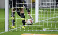 Fussball 1. Bundesliga 2012/2013: Relegation  Bundesliga / 2. Liga  TSG 1899 Hoffenheim  - 1. FC Kaiserslautern          23.05.2013 Symbolbild Fussball: Torwart nimmt den Ball aus dem Netz