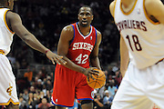 Feb. 27, 2011; Cleveland, OH, USA; Philadelphia 76ers power forward Elton Brand (42) looks for a pass during the first quarter against the Cleveland Cavaliers at Quicken Loans Arena. Mandatory Credit: Jason Miller-US PRESSWIRE