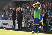 Cardiff City manager Neil Warnock shows his frustration after a penalty appeal was turned down during the EFL Sky Bet Championship match between Cardiff City and Reading at the Cardiff City Stadium, Cardiff, Wales on 6 May 2018. Picture by Graham Hunt.