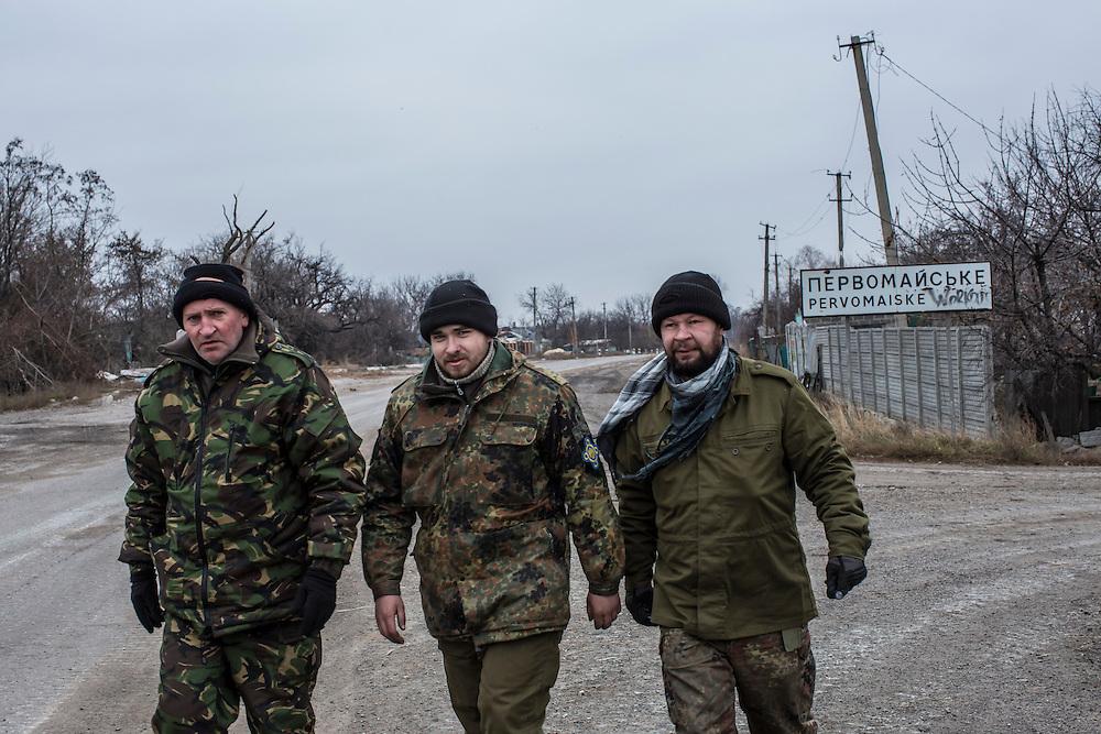 PERVOMAISKE, UKRAINE - NOVEMBER 17, 2014: Members of the 5th platoon of the Dnipro-1 brigade, a pro-Ukraine militia, near their post underneath a bridge in Pervomaiske, Ukraine. CREDIT: Brendan Hoffman for The New York Times