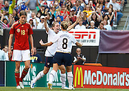 22 MAY 2010:  USA's Heather O'Reilly #9 and USA's Amy Rodriguez  #8 celebrate Heather O'Reilly  goal during the International Friendly soccer match between Germany WNT vs USA WNT at Cleveland Browns Stadium in Cleveland, Ohio. USA defeated Germany 4-0 on May 22, 2010.