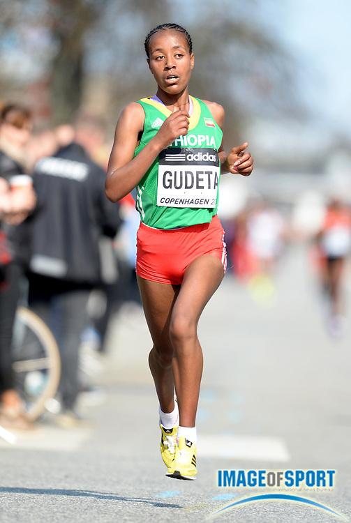 Mar 29, 2014; Copenhagen, Denmark; Netsanet Gudeta (ETH) places sixth in the womens race in 1:08:46 in the IAAF/AL-Bank World Half Marathon Championship. Photo by Jiro Mochizuki