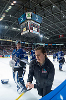 KELOWNA, CANADA - FEBRUARY 12:  Griffen Outhouse #30 of the Victoria Royals stands on the ice during a time out against the Kelowna Rockets on February 12, 2018 at Prospera Place in Kelowna, British Columbia, Canada.  (Photo by Marissa Baecker/Shoot the Breeze)  *** Local Caption ***