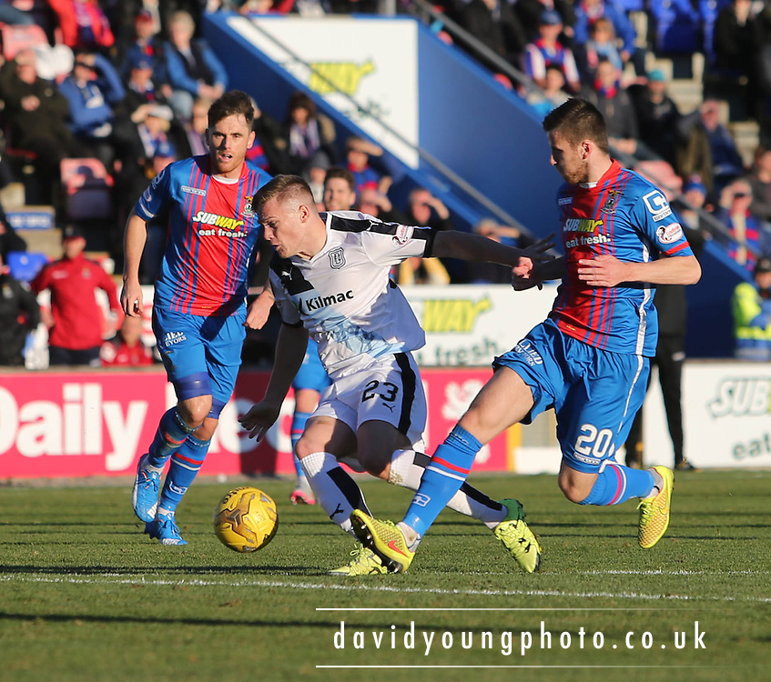Dundee&rsquo;s Rhys Healy takes on Inverness&rsquo; Liam Polworth - Inverness Caledonian Thistle v Dundee at Caledonian Stadium, Inverness<br /> <br />  - &copy; David Young - www.davidyoungphoto.co.uk - email: davidyoungphoto@gmail.com