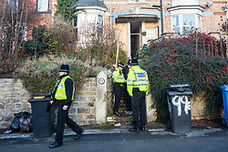 © Licensed to London News Pictures. 19/12/2017. Sheffield UK. Police stand outside a property on Shirebrook Road in Sheffield after the house was raided this morning by Anti Terror police. Three men aged 22, 36 & 41 were arrested in a series of dawn raids in Sheffield this morning, a fourth man aged 41 has been arrested in Chesterfield. The raids have been carried out by specialist officers from the North East Counter Terrorism Unit. All four men are being held on suspicion of being concerned in the commission, preparation or instigation of acts of terrorism under section 41. Photo credit: Andrew McCaren/LNP