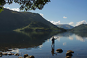 Fly fishing on Ullswater, Lake District, Cumbria