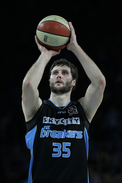 Breakers' Alex Pledger takes a free throw against the Wildcats in the 3rd and deciding grand final match of the ANBL Basketball Championship, Vector Arena, Auckland, New Zealand, Tuesday, April 24, 2012.  Credit:SNPA / David Rowland