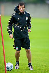 LIVERPOOL, ENGLAND - Tuesday, September 30, 2008: Liverpool's Javier Mascherano training at Melwood ahead of the UEFA Champions League Group D match against PSV Eindhoven. (Photo by David Rawcliffe/Propaganda)