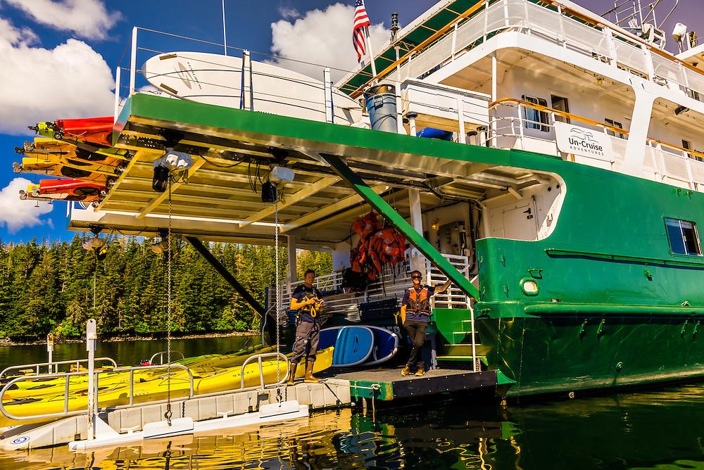 Sea kayaks, Wilderness Explorer (small cruise ship), Magoun Islands State Marine Park, Krestof Sound,  Inside Passage, Southeast Alaska USA.