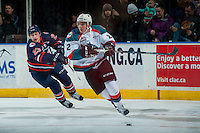 KELOWNA, CANADA - JANUARY 7: Spencer Bast #23 of the Kamloops Blazers stick checks James Hilsendager #2 of the Kelowna Rockets on January 7, 2017 at Prospera Place in Kelowna, British Columbia, Canada.  (Photo by Marissa Baecker/Shoot the Breeze)  *** Local Caption ***