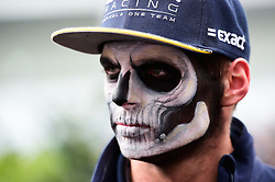 Max Verstappen (NLD) Red Bull Racing with Halloween themed face paint.<br /> 27.10.2016. Formula 1 World Championship, Rd 19, Mexican Grand Prix, Mexico City, Mexico, Preparation Day.<br />  Copyright: Price / XPB Images / action press
