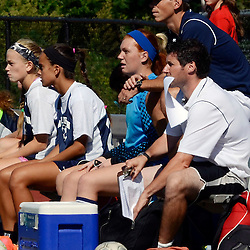 Staff photos by Tom Kelly IV<br /> Agnes Irwin head coach Nick Spillane (right) sits on the bench during the Agnes Irwin School vs Strath Haven girls soccer scrimmage in Nether Providence Township, Thursday August 28, 2014.
