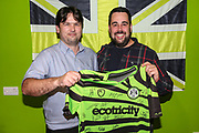 Match sponsor with Dane Vince during the EFL Sky Bet League 2 match between Forest Green Rovers and Crewe Alexandra at the New Lawn, Forest Green, United Kingdom on 26 October 2019.