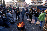 Rome, Italy. 2th February 2016<br /> Hundreds of peopleof the Movements for the right to housing continue to prevent the eviction of two buildings, property of the religious Congregation of the Montfort, occupied from 120 families. Dec. 8 to coincide with the opening of the doors of the Holy Jubilee of Mercy.