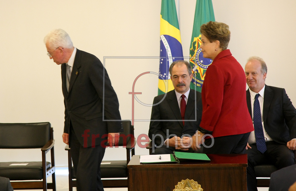 Brasilia, 05-02-2015. Presidenta Dilma Roussef , durante posse do ministro das relacoes estratégicas Mangabeira Unger, no palacio do planalto.Foto: Joel Rodrigues/FRAME.