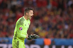 5LILLE, FRANCE - Friday, July 1, 2016: Wales goalkeeper Wayne Hennessey shouts out instructions during the UEFA Euro 2016 Championship Quarter-Final match  against Belgium at the Stade Pierre Mauroy. (Pic by Paul Greenwood/Propaganda)