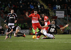 Bristol City's Adam El-Abd and Tyrone Barnett battle for the ball with Leyton Orient's Marvin Bartley - Photo mandatory by-line: Robin White/JMP - Tel: Mobile: 07966 386802 11/02/2014 - SPORT - FOOTBALL - Leyton - Brisbane Road - Leyton Orient v Bristol City - Sky Bet League One