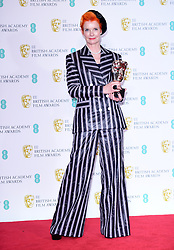Sandy Powell with her Best Costume Design Bafta in the press room at the 72nd British Academy Film Awards held at the Royal Albert Hall, Kensington Gore, Kensington, London.