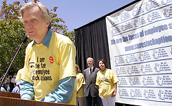 Palo Alto, CALIF. June 24, 2004--Tech pioneer Andy Bechtolsheim, of Sun Microsystems addresses the rally in opposition to stock option regulations outside Palo Alto City Hall, June 24, 2004 Photo by Kim Kulish