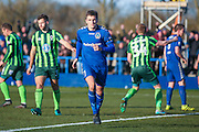 Curzon Ashton forward Adam Morgan (7) scores a goal for his hat trick and celebrates to make the score 3-0 during the The FA Cup match between Curzon Ashton and AFC Wimbledon at Tameside Stadium, Ashton Under Lyne, United Kingdom on 4 December 2016. Photo by Simon Davies.