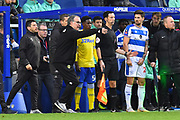 Leeds United Manager Marcelo Bielsa talks to Clarke Odour (54) of Leeds United before he takes to the field during the The FA Cup 3rd round match between Queens Park Rangers and Leeds United at the Loftus Road Stadium, London, England on 6 January 2019.