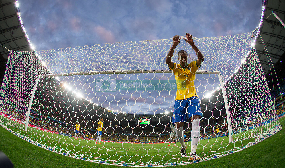 July 8, 2014 - Belo Horizonte, Brazil - Brazil's FERNANDINHO reacts after Germany's Toni Kroosduring scored during the FIFA World Cup 2014 semi-final soccer match between Brazil and Germany at Estadio Mineira.(Credit Image: © Jonne Roriz/Fotoarena/ZUMA Wire)