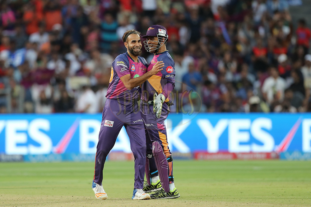 Imran Tahir of Rising Pune Supergiant celebrates the wicket of Pawan Negi of the Royal Challengers Bangalore during match 34 of the Vivo 2017 Indian Premier League between the Rising Pune Supergiants and the Royal Challengers Bangalore   held at the MCA Pune International Cricket Stadium in Pune, India on the 29th April 2017<br /> <br /> Photo by Ron Gaunt - Sportzpics - IPL