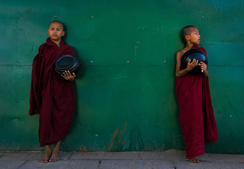 Novices on a street in Yangon, Myanmar.
