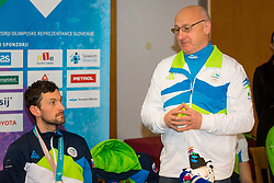 Bogdan Gabrovec during Arrival of Jakov Fak, Silver medalist at Olympic Games in Pyeongchang 2018, on February 25, 2018 in Aerodrom Ljubljana, Letalisce Jozeta Pucnika, Kranj, Slovenia. Photo by Ziga Zupan / Sportida