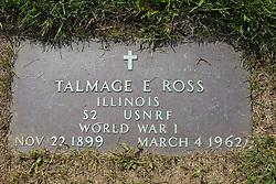 31 August 2017:   Veterans graves in Park Hill Cemetery in eastern McLean County.<br /> <br /> Talmage E Ross  Illinois  S2 USNRF  World War I  Nov 22 1899  March 4 1962