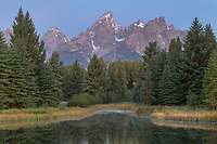 Teton Range reflected in still waters of the Snake River at Schwabacher Landing, Grand Teton National Park Wyoming