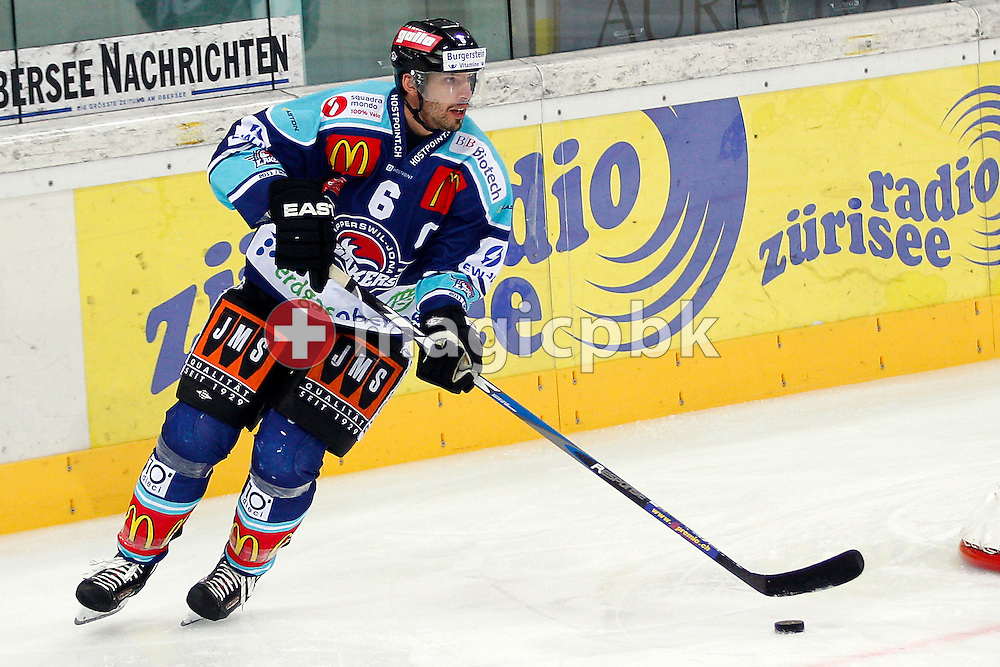 Rapperswil-Jona Lakers defender Cyrill Geyer is pictured during ice hockey game of the Swiss National League A (Season 2011-2012) between Rapperswil-Jona Lakers and EHC Biel (HC Bienne) held at the Diners Club Arena in Rapperswil, Switzerland, Saturday, Oct. 8, 2011. (Photo by Patrick B. Kraemer / MAGICPBK)