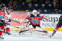 KELOWNA, CANADA - OCTOBER 31: Michael Herringer #30 of the Kelowna Rockets defends the net against the Lethbridge Hurricanes on October 31, 2015 at Prospera Place in Kelowna, British Columbia, Canada.  (Photo by Marissa Baecker/Shoot the Breeze)  *** Local Caption *** Michael Herringer;