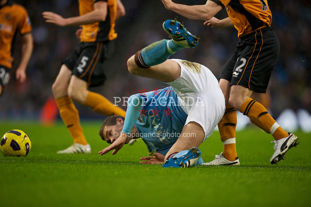 MANCHESTER, ENGLAND - Saturday, January 15, 2011: Manchester City's Edin Dzeko makes his debut during the Premiership match against Wolverhampton Wanderers at the City of Manchester Stadium. (Photo by David Rawcliffe/Propaganda)