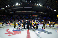 REGINA, SK - MAY 18: Official puck drop of pening ceremonies at the Brandt Centre on May 18, 2018 in Regina, Canada. (Photo by Marissa Baecker/Shoot the Breeze)