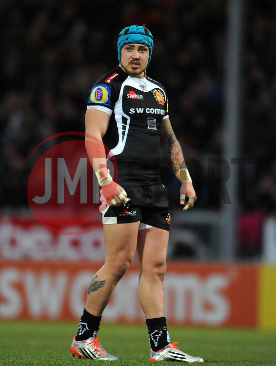 Exeter Chiefs Jack Nowell  - Photo mandatory by-line: Harry Trump/JMP - Mobile: 07966 386802 - 14/02/15 - SPORT - Rugby - Aviva Premiership - Sandy Park, Exeter, England - Exeter Chiefs v Newcastle Falcons