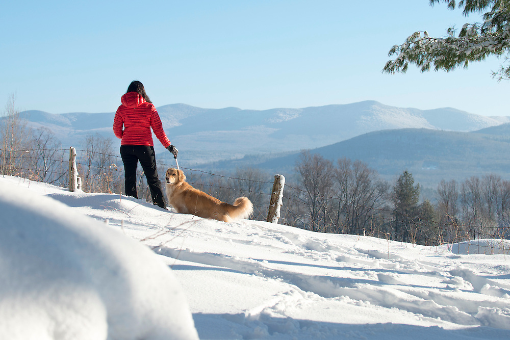 Winter snowshoeing in Brandon, Vermont.