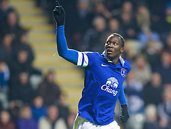 25.03.2014, St. James Park, Newcastle, ENG, Premier League, Newcastle United vs FC Everton, 28. Runde, im Bild Everton's Romelu Lukaku celebrates scoring the second goal against Newcastle United // during the English Premier League 28th round match between Newcastle United and Everton FC at the St. James Park in Newcastle, Great Britain on 2014/03/25. EXPA Pictures © 2014, PhotoCredit: EXPA/ Propagandaphoto/ David Rawcliffe<br /> <br /> *****ATTENTION - OUT of ENG, GBR*****