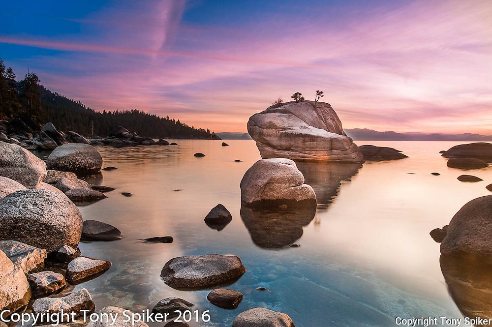 Bonsai Rock Sunset 2 - A fall sunset over Lake Tahoe at Bonsai Rock