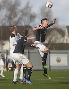 Declan Gallagher wins a header - Dumbarton v Dundee  - SPFL Championship at the Bet Butler Stadium<br /> <br />  - &copy; David Young - www.davidyoungphoto.co.uk - email: davidyoungphoto@gmail.com