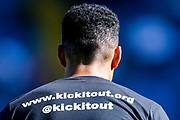 Derby County defender Curtis Davies (33) Kick it out Campaign during the EFL Sky Bet Championship match between Leeds United and Derby County at Elland Road, Leeds, England on 21 September 2019.