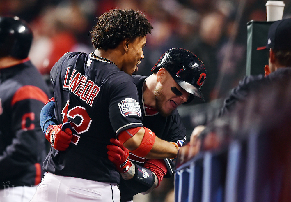 Oct 25, 2016; Cleveland, OH, USA; Cleveland Indians catcher Roberto Perez (right) celebrates with shortstop Francisco Lindor (12) after hitting a three-run home run against the Chicago Cubs in the 8th inning in game one of the 2016 World Series at Progressive Field. Mandatory Credit: Ken Blaze-USA TODAY Sports