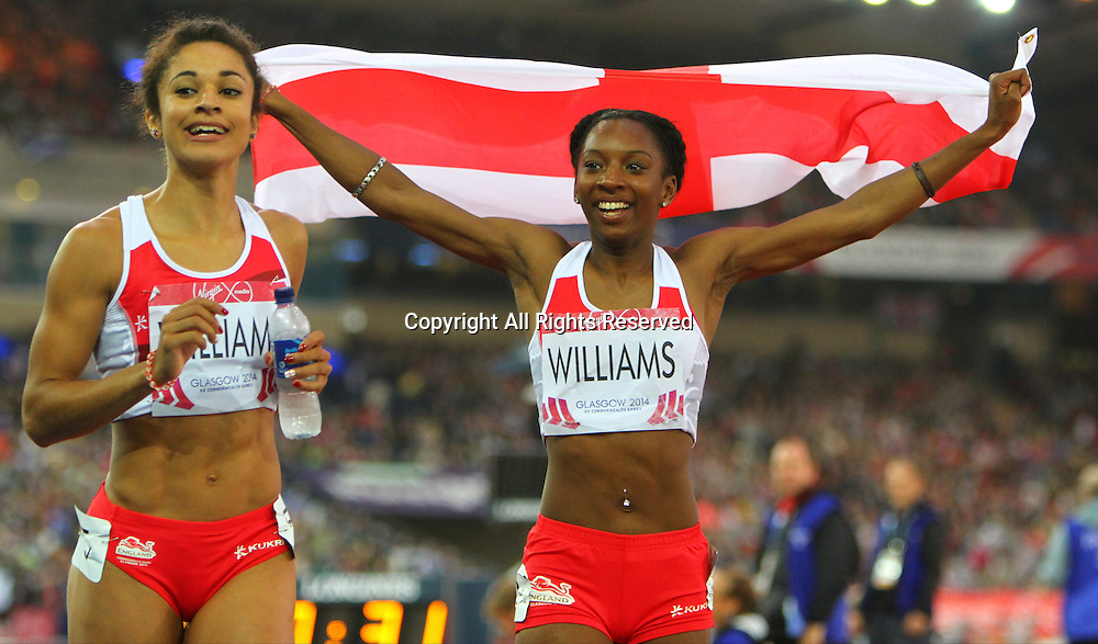 31.07.2014. Glasgow, Scotland. Glasgow Commonwealth Games. Women's 200m final from Hampden Park. Bianca Williams won bronze and Jodie williams won silver for England