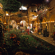 Interior of Convento de Oaxaca at night now Camino Real hotel. Oaxaca, Mexico.