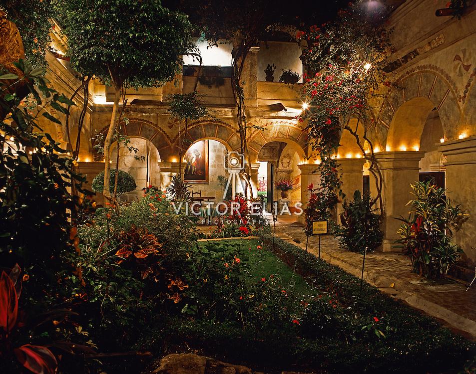 Interior of Convento de Oaxaca at night now Camino Real hotel. Oaxaca, Mexico.