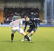 Dundee's Willie Dyer runs at St Mirren's Lewis McLear -  St Mirren v Dundee, SPFL Premiership at St Mirren Park <br /> <br /> <br />  - &copy; David Young - www.davidyoungphoto.co.uk - email: davidyoungphoto@gmail.com