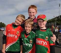 Sean and Conor Horkan with cousins Liam and Ronan Connor on their way to McHale park to watch  Mayo v Kildare.<br />