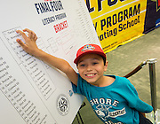 A Carrillo Elementary Scholl student is proud his school topped the list during the reveal of the 32 finalists in the Houston ISD NCAA Read to the Final Four, November 11, 2015.