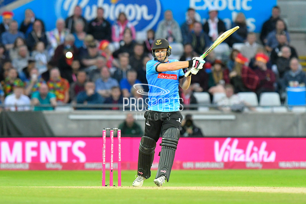 Luke Wright of Sussex plays an attacking shot during the final of the Vitality T20 Finals Day 2018 match between Worcestershire Rapids and Sussex Sharks at Edgbaston, Birmingham, United Kingdom on 15 September 2018.